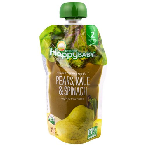 Happy Family Organics, Organic Baby Food, Stage 2, Clearly Crafted, 6+ Months, Pears, Kale & Spinach, 4.0 oz (113 g) Review