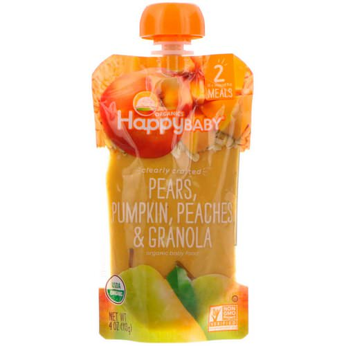 Happy Family Organics, Organic Baby Food, Stage 2, Clearly Crafted 6+ Months, Pears, Pumpkin, Peaches & Granola, 4 oz (113 g) Review
