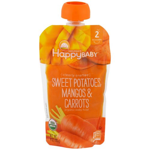 Happy Family Organics, Organic Baby Food, Stage 2, Clearly Crafted 6+ Months, Sweet Potatoes, Mangos & Carrots, 4 oz (113 g) Review