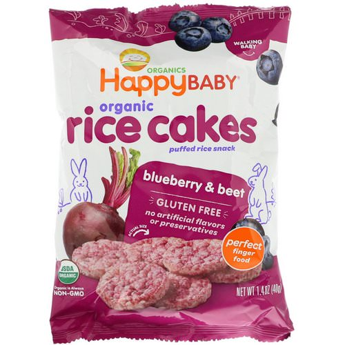 Happy Family Organics, Organic Rice Cakes, Puffed Rice Snack, Blueberry & Beet, 1.4 oz (40 g) Review