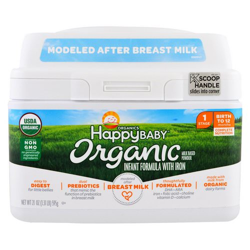 Happy Family Organics, Organics Happy Baby, Infant Formula With Iron, Stage 1, Birth to 12 Months, 21 oz (595 g) Review