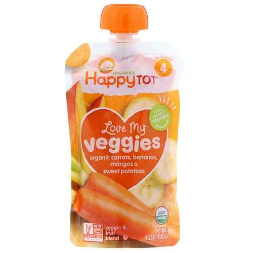 Happy Family Organics, Organics Happy Tot, Love My Veggies, Organic Carrots, Bananas, Mangos & Sweet Potatoes, 4.22 oz (120 g) Review