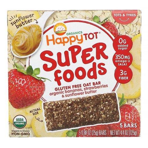 Happy Family Organics, Organics Happy Tot, Superfoods, Gluten Free Oat Bar, Organic Bananas, Strawberries & Sunflower Butter, 5 Bars, 0.88 oz (25 g) Each Review