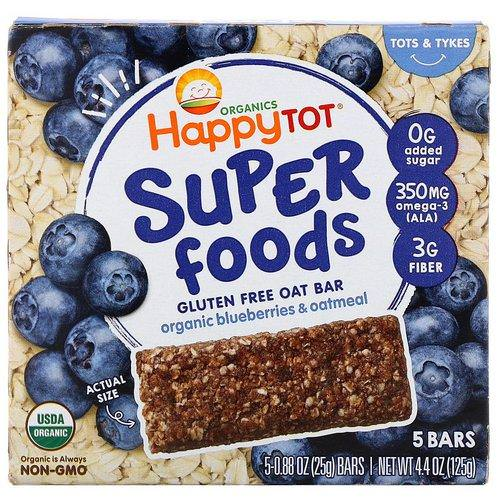 Happy Family Organics, Organics Happy Tot, Superfoods, Gluten Free Oat Bar, Organic Blueberries & Oatmeal, 5 Bars, 0.88 oz (25 g) Each Review