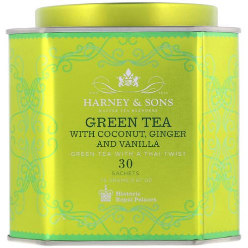 Harney & Sons, Green Tea with Coconut, Ginger and Vanilla, 30 Sachets, 2.67 oz (75 g) Review