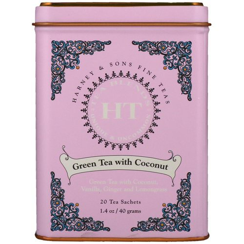 Harney & Sons, HT Tea Blend, Green Tea with Coconut, 20 Tea Sachets, 1.4 oz (40 g) Review
