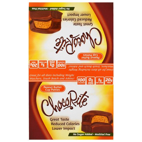 HealthSmart Foods, ChocoRite, Peanut Butter Cup Patties, 16 Count, 1.27 oz (36 g) Each Review