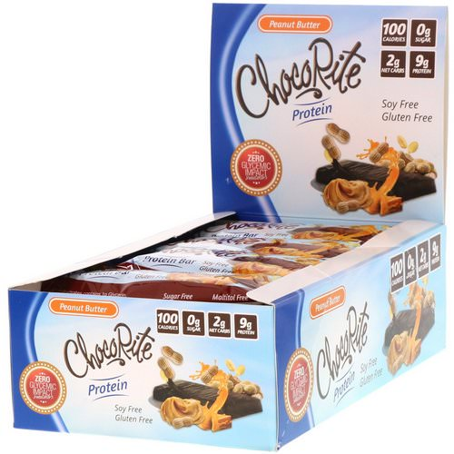 HealthSmart Foods, ChocoRite Protein Bar, Peanut Butter, 16 Bars - 1.2 oz (34 g) Each Review