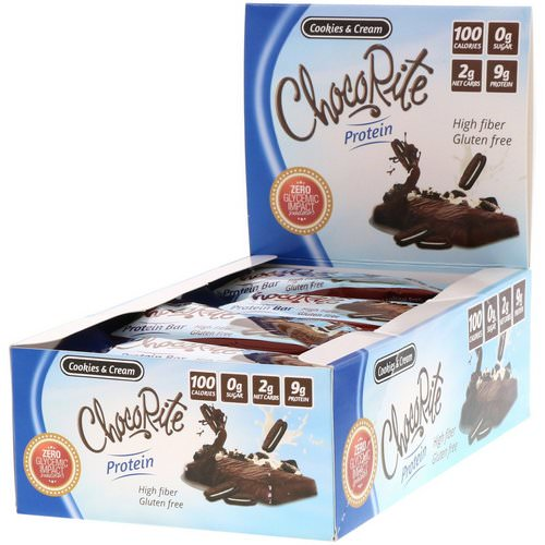 HealthSmart Foods, ChocoRite Protein Bars, Cookies & Cream, 16 Bars - 1.2 oz (34 g) Each Review