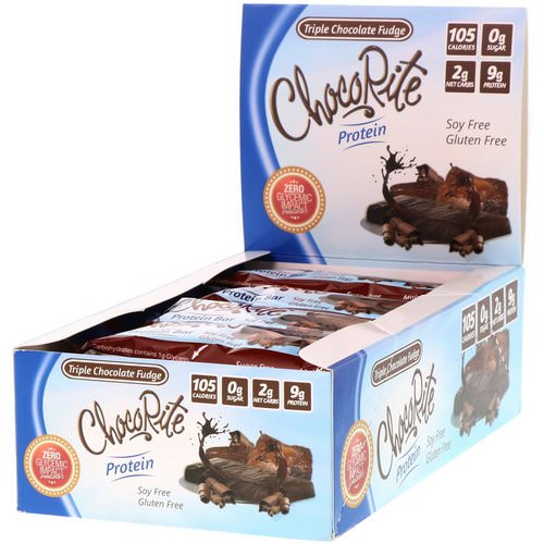 HealthSmart Foods, ChocoRite Protein Bars, Triple Chocolate Fudge, 16 Bars - 1.2 oz (34 g) Each Review
