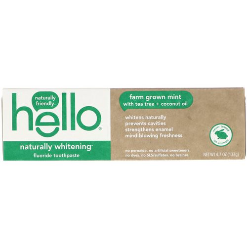 Hello, Naturally Whitening Fluoride Toothpaste, Farm Grown Mint, 4.7 oz (133 g) Review