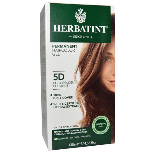 Herbatint, Permanent Haircolor Gel, 5D, Light Golden Chestnut, 4.56 fl oz (135 ml) Review
