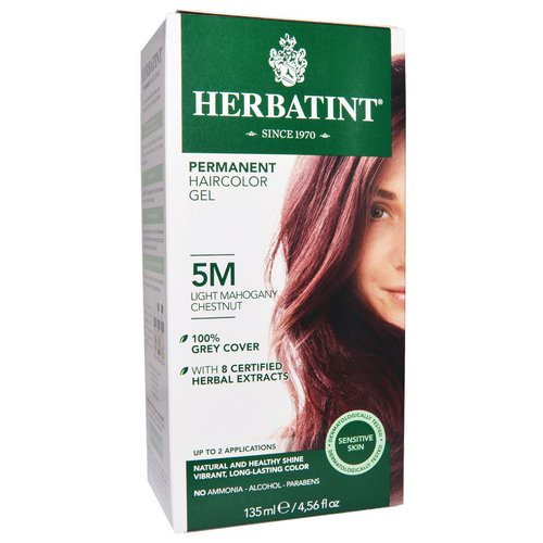 Herbatint, Permanent Haircolor Gel, 5M, Light Mahogany Chestnut, 4.56 fl oz (135 ml) Review