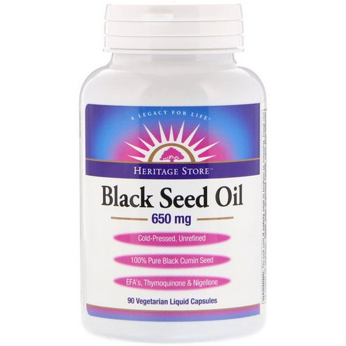 Heritage Store, Black Seed Oil, 650 mg, 90 Vegetarian Liquid Capsules Review