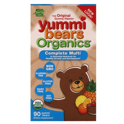 Hero Nutritional Products, Yummi Bears Organics, Complete Multi, Organic Fruit Flavors, 90 Yummi Bears Review