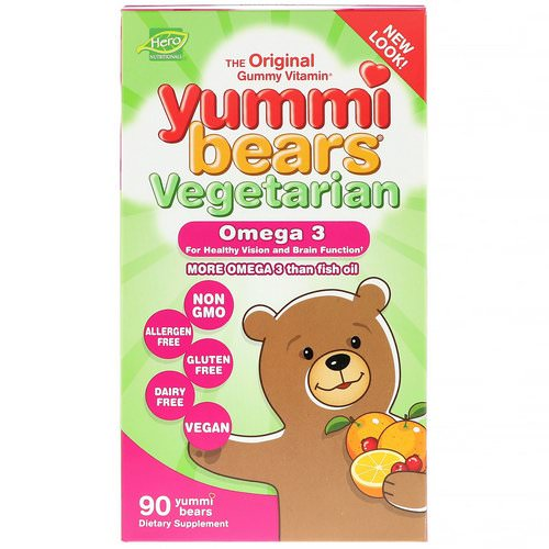 Hero Nutritional Products, Yummi Bears, Vegetarian, Omega 3, 90 Yummi Bears Review