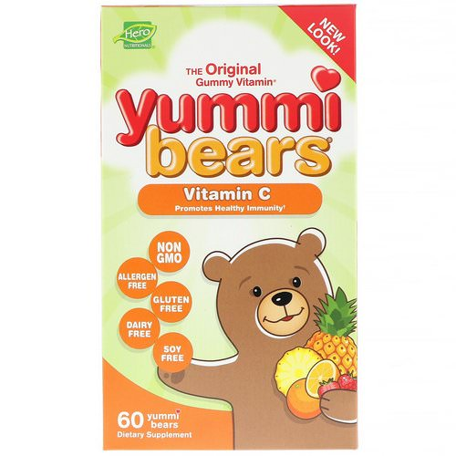 Hero Nutritional Products, Yummi Bears, Vitamin C, All Natural Fruit Flavors, 60 Yummi Bears Review