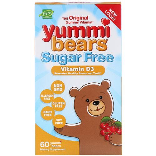 Hero Nutritional Products, Yummi Bears, Vitamin D3, Sugar Free, Natural Cherry Flavor, 60 Gummy Bears Review