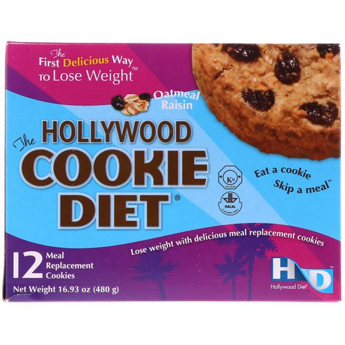 Hollywood Diet, The Hollywood Cookie Diet, Oatmeal Raisin, 12 Meal Replacement Cookies Review