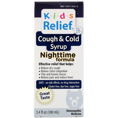 Homeolab USA, Kids Relief, Cough & Cold Syrup, Nighttime Formula, 3.4 fl oz (100 ml) Review
