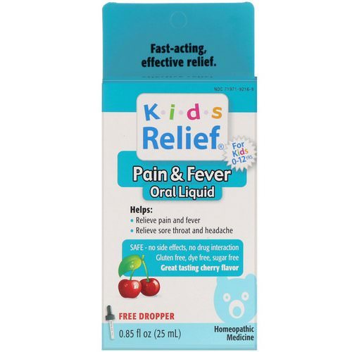 Homeolab USA, Kids Relief, Pain & Fever Oral Liquid, Cherry Flavor, 0.85 fl oz (25 ml) Review
