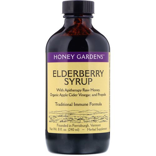 Honey Gardens, Elderberry Syrup with Apitherapy Raw Honey, Organic Apple Cider Vinegar, and Propolis, 8 fl oz (240 ml) Review