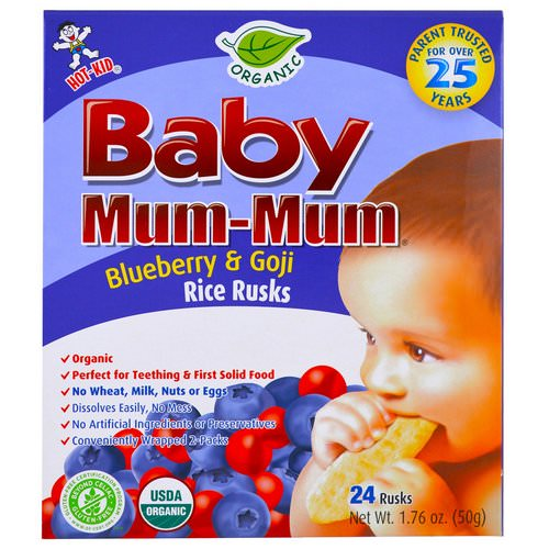 Hot Kid, Baby Mum-Mum, Organic Rice Rusk, Blueberry & Goji Rice Rusks, 24 Rusks, 17.6 oz (50 g) Each Review