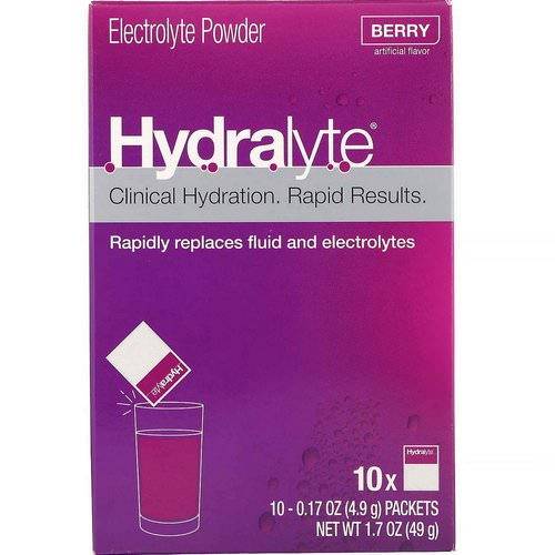 Hydralyte, Clinical Hydration, Electrolyte Powder, Berry, 10 packets 0.17 oz (4.9 g) Each Review