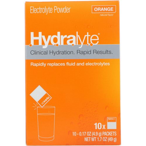 Hydralyte, Clinical Hydration, Electrolyte Powder, Orange, 10 packets 0.17 oz (4.9 g) Each Review