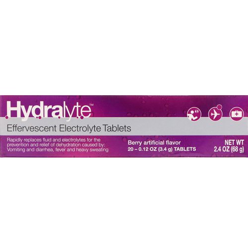 Hydralyte, Effervescent Electrolyte, Berry Artificial Flavor, 20 Tablets, 2.4 oz (68 g) Review