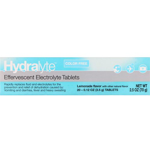 Hydralyte, Effervescent Electrolyte, Color Free, Lemonade Flavor, 20 Tablets, 2.5 oz (70 g) Review
