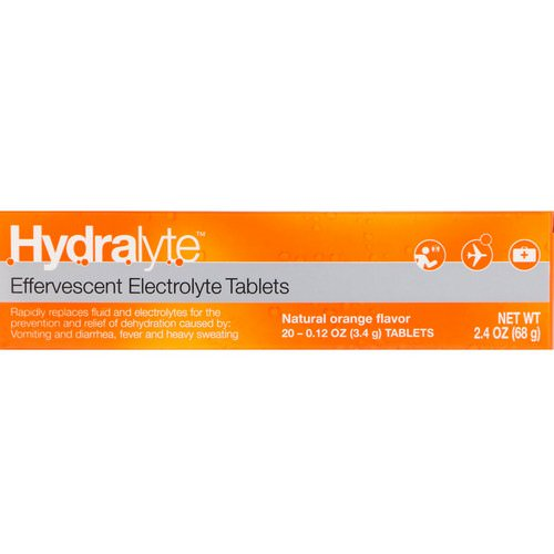Hydralyte, Effervescent Electrolyte, Natural Orange Flavor, 20 Tablets, 2.4 oz (68 g) Review