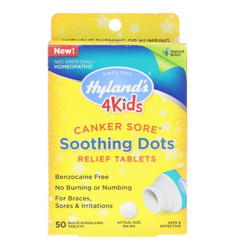 Hyland's, 4 Kids, Canker Sore, Soothing Dots Relief Tablets, 50 Quick-Dissolving Tablets Review