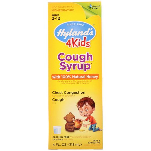 Hyland's, 4 Kids, Cough Syrup with 100% Natural Honey, Ages 2-12, 4 fl oz (118 ml) Review