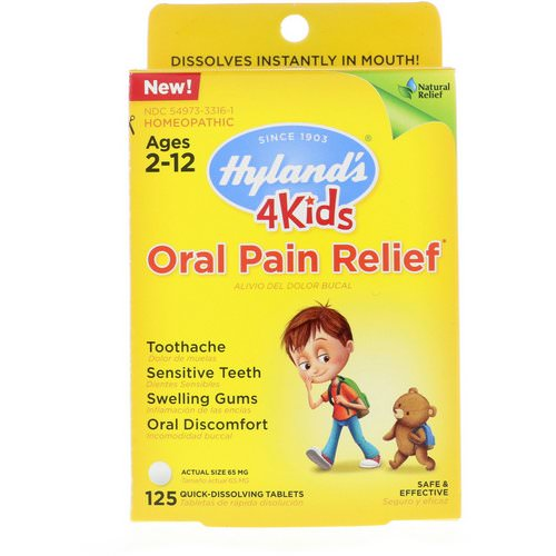 Hyland's, 4 Kids, Oral Pain Relief, Ages 2-12, 125 Tablets Review