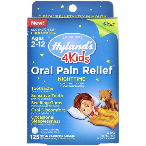 Hyland's, 4 Kids, Oral Pain Relief, Nighttime, Ages 2-12, 125 Tablets Review
