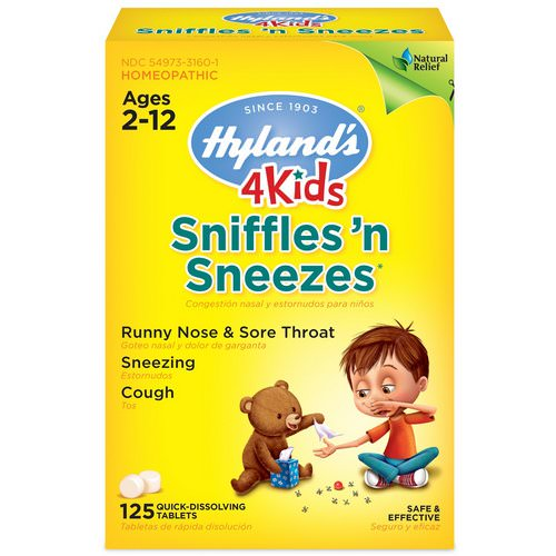 Hyland's, 4 Kids, Sniffles 'n Sneezes, Ages 2-12, 125 Quick-Dissolving Tablets Review