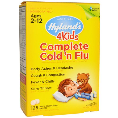 Hyland's, 4Kids Complete Cold 'n Flu, Ages 2-12, 125 Quick-Dissolving Tablets Review