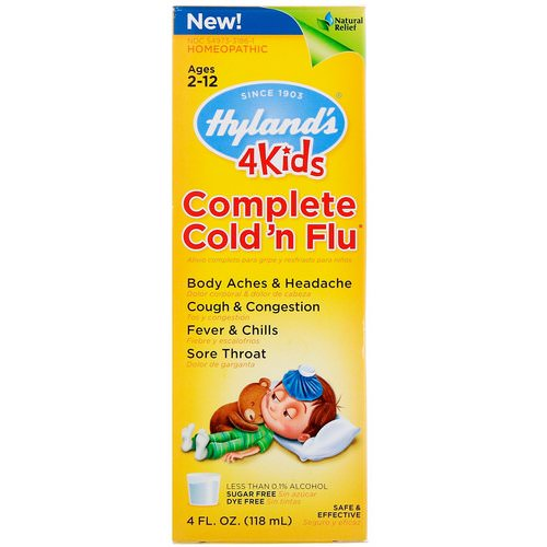 Hyland's, 4Kids, Complete Cold 'n Flu, Ages 2-12, 4 fl oz (118 ml) Review