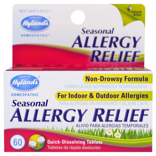 Hyland's, Seasonal Allergy Relief, 60 Quick-Dissolving Tablets Review