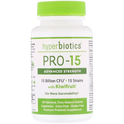 Hyperbiotics, PRO-15, Advanced Strength with Kiwifruit, 15 Billion CFU, 60 Patented, Time-Release Tablets Review