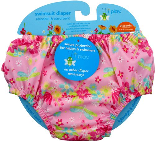 i play Inc, Swimsuit Diaper, Reusable & Absorbent, 24 Months, Light Pink Dragonfly, 1 Diaper Review