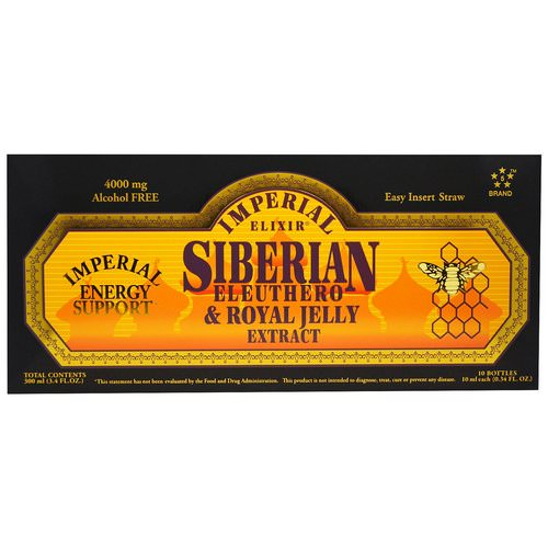 Imperial Elixir, Siberian Eleuthero & Royal Jelly Extract, Alcohol Free, 4000 mg, 10 Bottles, 0.34 fl oz (10 ml) Each Review