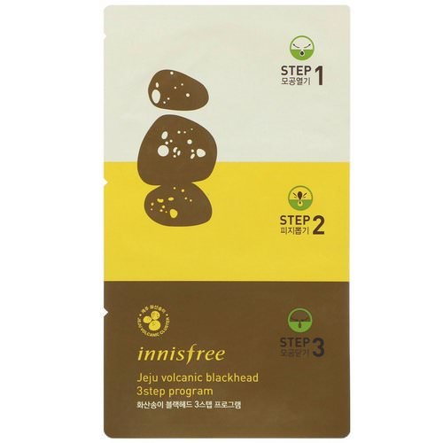 Innisfree, Jeju Volcanic Blackhead 3 Step Program, 3 Masks Review