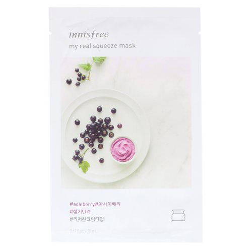 Innisfree, My Real Squeeze Mask, Acai Berry, 1 Sheet Review
