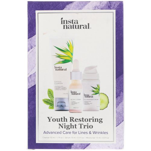 InstaNatural, Youth Restoring Night Trio, Advanced Care for Lines & Wrinkles, 3 Piece Kit Review