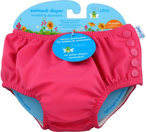 i play Inc, Swimsuit Diaper, Reusable & Absorbent, 24 Months, Hot Pink, 1 Diaper Review