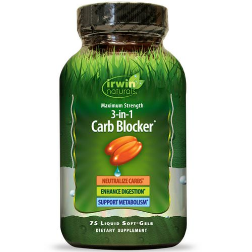 Irwin Naturals, 3-In-1 Carb Blocker, Maximum Strength, 75 Liquid Soft-Gels Review