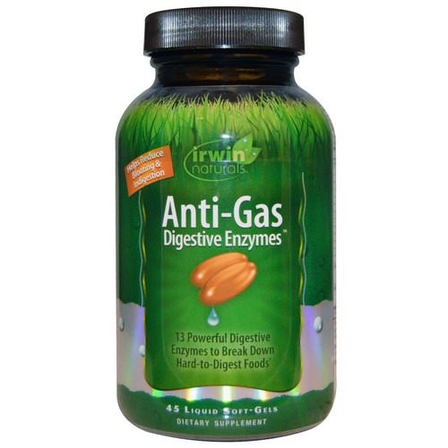 Irwin Naturals, Anti-Gas Digestive Enzymes, 45 Liquid Soft-Gels Review