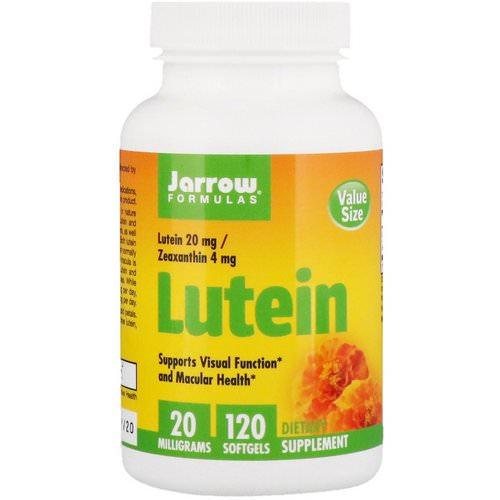 Jarrow Formulas, Lutein, 20 mg, 120 Softgels Review
